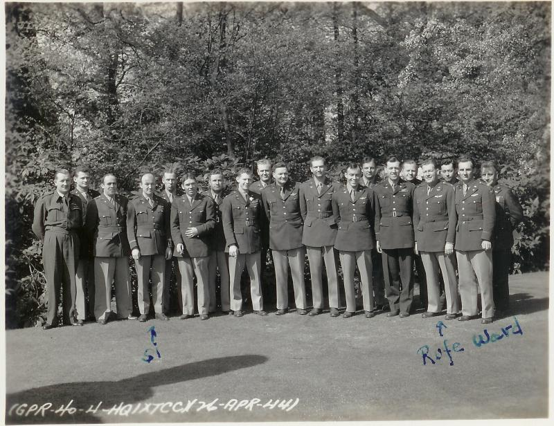American officers of the 9th Troop Carrier Command in a photo-op with Air Chief Marshall Trafford Leigh-Mallory (first on the left).  Silas Rhead Richards is fourth from the left.  Rufus Ward is fourth from the right.  This picture was taken 26 Apr 1944 at Eastcote Place, Middlesex, England.