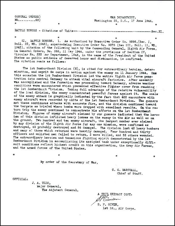 Battle Honors - Citation of Units - General Orders 11 May 1944. 1st. Bombardment Division.
