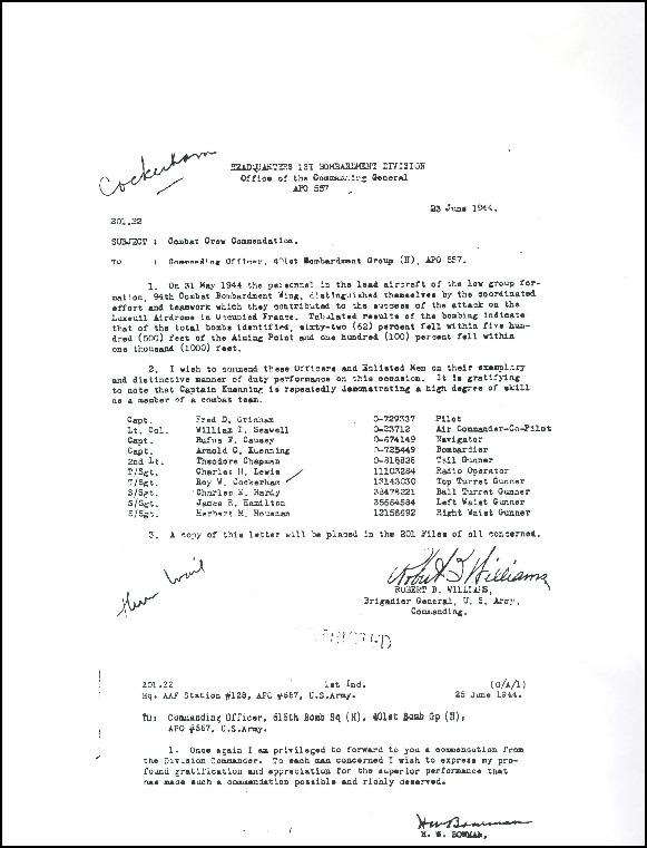 410st Bomb Group - Combat Crew Commendation - Mission 382 31 May 1944