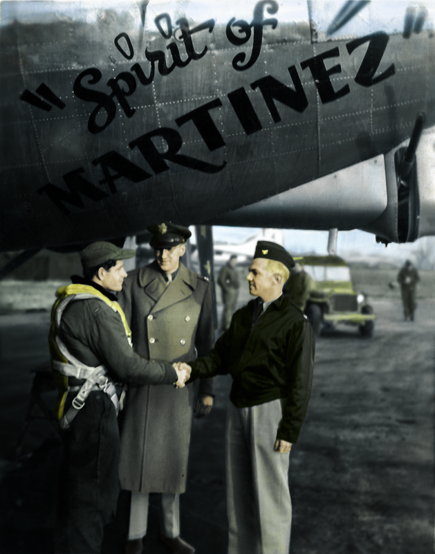 Frank J Calicura greets Commander Jack Shuck before heading off for his 8th mission in March 1945. Also there to exchange words with Frank is Statistical Officer David Olsson who shares the same hometown as Frank, Martinez, Calif. USA
