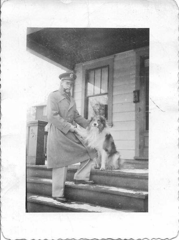 2nd Lt Walter Patton Gray II, and his collie, Shep. Home on furlough to Sewickley, Pennsylvania, December 13, 1943