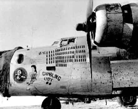B-24J-145-CO #44-40113 Gamblin' Lady  Code:  RE-K 93rd BG - 329th BS Had previously flown with the 492nd BG - 857th BS coded 9H-G
