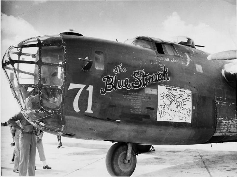 The B-24D, The Blue Streak was an original aircraft the Halverson Project (HALPRO) intended to bomb Japan from bases on the China coast.  Instead the detachment remaind in the Middle East and opened the AAF air campaign against oil supplies with a  June, 1942 raid on Polesti, Romania.  The HALPRO detachment the formed the First Bomb Group (Provisional) joined by B-17E from Asia.  That unit then form the cadre of the 376th BG (H) activated in theater.  The aircraft personal markings evolved with the various assignments. Those included :  'Florine JuJu'  10;  'Teggie Ann'   and   'The Blue Streak'  #71.  The aircraft survived its combat tour with many missions and was returned to the United States, flown by Lt. John S. Young and his crew, for a war bond tour in 1944-45.