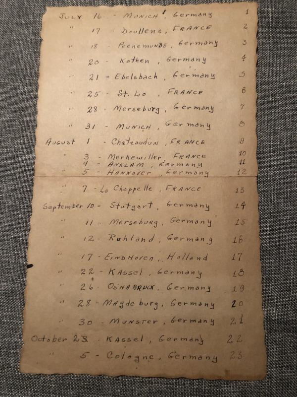 Mission list kept by 2nd Lt. Donald Muckerman of the 8th Airforce, 305th Bomb Group, 422nd Squadron (front)