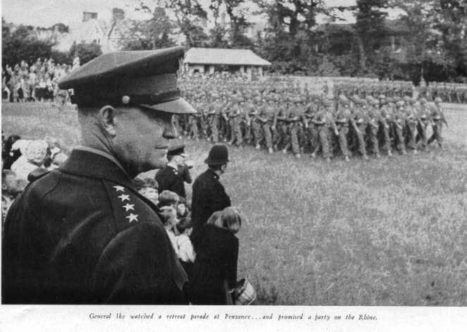General Dwight Eisenhower inspects American troops in Penzance ahead of D-Day. The caption reads: