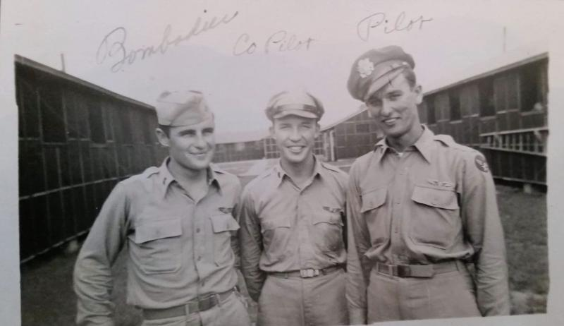 Men of the 96th BG, 339th BS, 3rd div., 45th CBW, Eighth Air Force taken while in training at Ardmore, Oklahoma June-Sept 1944  Left to Right are: JAMES N. HENTGES (BOMBARDIER) EUGENE P. MENCH (CO-PILOT) MONROE S. DAVID (PILOT)