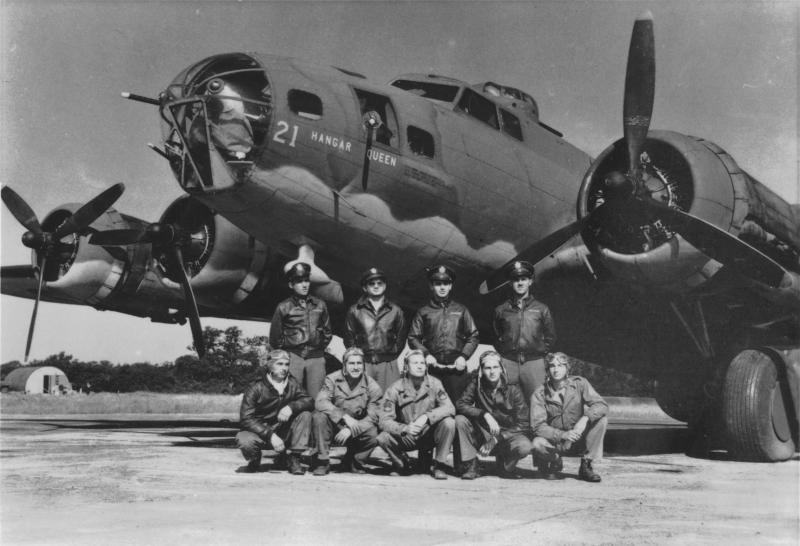 The B-17E Hangar Queen (41-9021) 8/17/42 Crew Listing -- 414th Bomb Squadron at Grafton-Underwood Field (RAF Station #106): 92nd BG conducted theater orientation training with the B-17E exchanged with the 97th BG for the formers F series before the latter deployed to the 12th Air Force in North Africa. This image and name suggests the 92nd BG assignment. Osborne:  41-9021; 327th BS, 92nd BG .  Pilot ........................... Lt. Claire M. Smartt Copilot ....................... Lt. Godfrey Engil Navigator ................... Lt. Harry C. Nuessle Bombardier ................ Lt. Ralph Burbridge Engineer/TTG ............ Sgt. Ermando P. Roviaro Radio Operator/WG... Sgt. Allen O. Williams Waist Gunner ............ Sgt. Robert J. Nichols Ball Turret Gunner ..... Sgt. James M. Abbott Tail Gunner ............... Sgt. Henry Wojciechowski