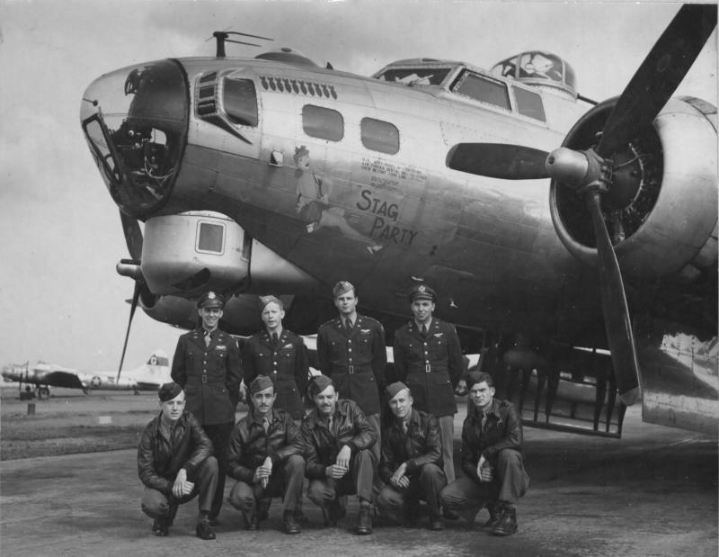"""Back row left to right  Thomas H. """"Pete"""" Fitzgerald – Pilot Edward J. Bullitt – Co-Pilot Edwin M. Dexter – Navigator Richard D. Eide – Bombardier  Front row left to right:  Ralph """"H"""" Hichens – Top Turret Gunner/Flight Engineer Edward Gramc - Radio Operator/Gunner Edgar L. """"Pappy"""" Heeg - Tail Gunner Charles O. Beckham – Ball Turret Gunner Michael Kimak – Waist Gunner  This picture was taken on September 21, 1944 when they were assigned to the 305th BG 422nd BS. The crew was originally assigned to the 384th BG 546th BS on May 16, 1944. They flew 16 operational missions before being transferred to the 305th BG. on June 26, 1944 where they completed their tour.     The original crew when assigned to the 384th BG had Carl R. Matthiesen as the Radio Operator/Gunner and William J. Pattillo as the 2nd Waist Gunner. Ed Gramc was assigned to the 384th BG 546th BS on May 16, 1944 with the James A. Gibson crew. For unknown reasons, when the Fitzgerald crew was transferred, Ed Gramc went with them and Carl Matthiesen and William Pattillo stayed with the 384th BG."""