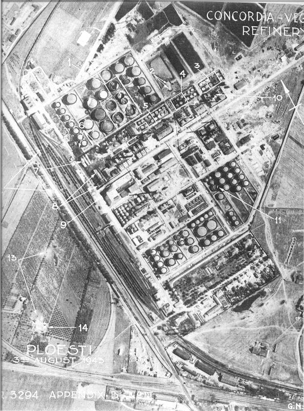 Annotated reconnaissance photo of Concordia Vega Oil Refinery, Ploesti, Romania taken 3 August 1943 to assess the impact of the bombing during Operation Tidal Wave.   Point 14 is likely the crash site of B-24 (serial number 42-40994) nicknamed