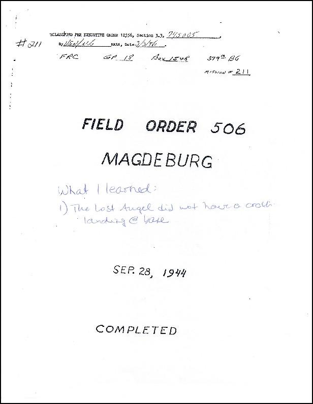 Edited Field Order #506: Madgeburg Sep. 28, 1944 describing The Lost Angel (a/c 42-38183) returning to base with no incident.
