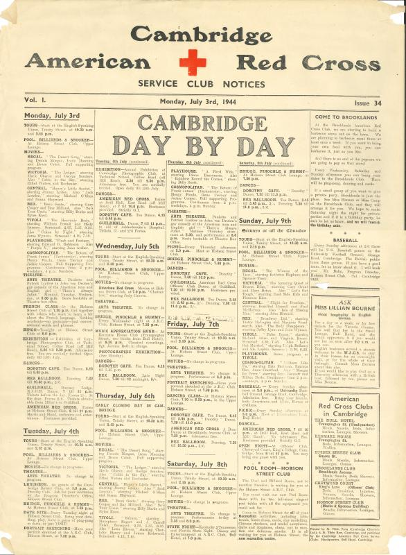 Cambridge American Red Cross Service Club Notices, Vol 1 - Monday July 3rd 1944 -  Issue 34