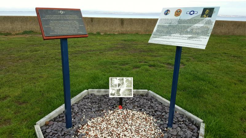 Memorial to the crew of B 17 44-6133 of the 525th Squadron, 379th BG. The memorial was raised by Mitch Peeke for the 75th Anniversary of the crash, in June of 2019. It was unveiled  jointly by Jeanne Cronis-Campbell, daughter of 2nd Lt. Teddy Chronopolis, and Noel Tognazzini, nephew of S/Sgt. Cecil Tognazzini, during a special commemorative day. The memorial is located on the Seafront, overlooking the crash site, which is about 520 yards offshore, at Allhallows in Kent. The memorial is situated adjacent to the Yacht Club within the grounds of the Haven Allhallows Holiday Park.
