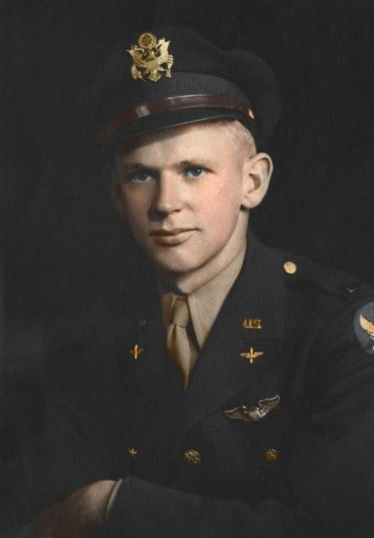 2LT Lynn Wilson Hadfield,  He was serving on the crew of a Douglas A-26 Invader #43-22353 during a mission to Dulmen, Germany. Their aircraft was hit by anti-aircraft fire and the three crew members went missing.   Photo source: Pete Johnson