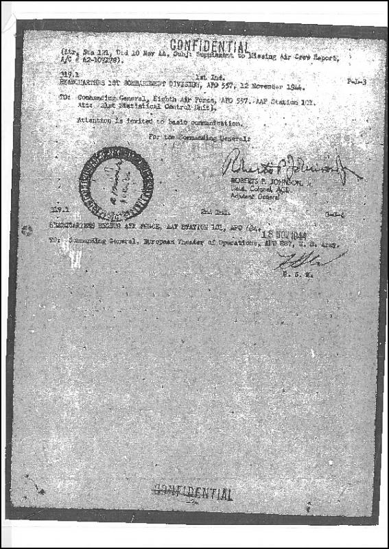 Missing Air Crew report of B-17 flying fortress (serial number 42-107178) of the 91st Bomb Group, lost on 24 May 1944