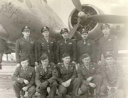 Henningsen Crew; 447th Bomb Group, 710th Squadron; photo taken at Rattlesden, England. Standing, L-R: Doyle Shields, Robert Manuel (?), Eldon Henningsen, Jerry Rothstein, Eugene Wulfe (?),; Kneeling, L-R: William HOlloman, Harry Long, Lee Plant, Otis Lumpkin, John Kates. Although the crew is posed in front of 43-38731 (Blythe Spirit), that aircraft was assigned to the 711th squadron and is probably just a convenient backdrop.