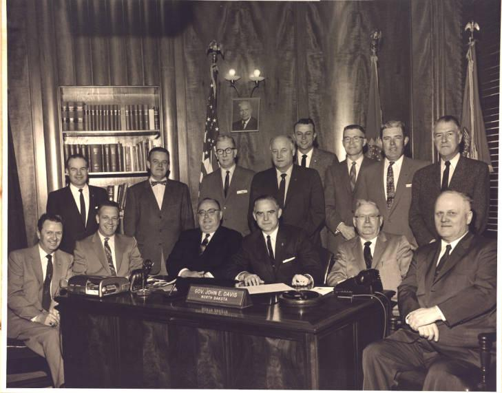 William Daner (back row, far left) with lawyers and North Dakota politicians, March 1959, Bismarck, ND.