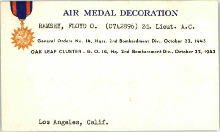 """Floyd Ramsey's Air Medal card (with middle name initial as """"O"""" instead of"""