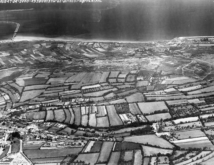 Maupertus-sur-Mer from 2,500 ft. courtesy of the USAF,  24 August, 1947.