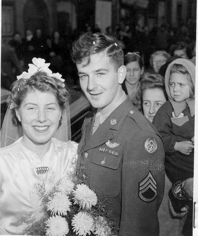 SSGT Melvin F. Larson with his bride Gladys at their wedding in Thetford, England, 14 October 1944 388th BG - 560th BS