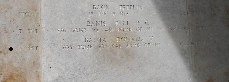 Donald Banta's name etched on the walls of the Missing at the Ardennes American Cemetery, Henri-Chapelle, Belgium (photo Ed Reniere, Belgium)