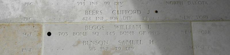 William Beggs' name on the Walls of the Missing at the Henri-Chapelle American Cemetery, Belgium