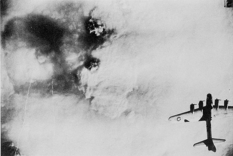 8th Air Force mission 794; Augsburg, Germany; January 15, 1945. 447th Bomb Group strike photo.