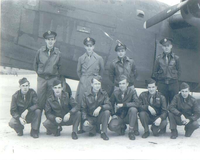 Garland B. Lloyd Crew 95th BG - 334th BS  Standing Left to Right:  Garland B. Lloyd (P), Willys P. Jones (CP), Elton Skinner (N), Russell Allman (B)  Kneeling Left to Right:  Marion Gilmore (FE), George R. Robinson (LWG), John Janssen (R/O), Porter B. Hyght (RWG), Victor P. Valek (TG), Ralph P. Rice (BTG)  The crew flew 22 missions and were shot down on 6 March 1944