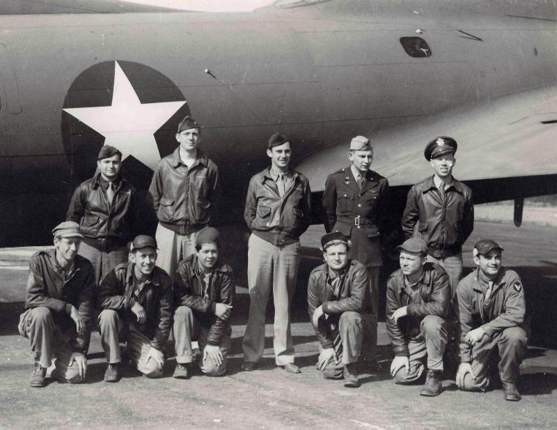 Photo taken on or before August 16, 1942 showing the normal crew assigned to B-17E YANKEE DOODLE (41-9023) plus its Squadron Commander, Captain R. E. Flack.    Top Row Left-to-Right: 2nd Lt. James W. Dunn (Navigator); 2nd Lt. Carl E. Schultz (Bombardier); Capt. Rudolph E. Flack (414th CO & Pilot); 2nd Lt. John R. Dowswell (Pilot); 2nd Lt. William A. Hadden (Copilot).   Bottom Row Left-to-Right: S-Sgt. Edwin N. Breedlove (Radio & Waist Gunner); Sgt. Ernest B. Clark (Ball Turret Gunner); S-Sgt. Paul W. Haygreen (Engineer & Top Turret Gunner); Sgt. Raymond C. Lewis (Tail Gunner); Sgt. Frank Hayes (Waist Gunner); Sgt. Shiller Cohen (Photographer).  Refer to https://www.facebook.com/Untold-Stories-of-Colonel-Rudy-Flack-302118180261150/ to follow the latest updates, which includes lots of details about the 414th Bomb Squadron primarily from February 1942 thru February 1943.