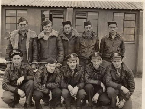 Ray James Campbell Crew 388th BG - 560th BS - 8th AF  Standing L to R:  Dale D. McIntyre (RO), Anthony D. Kawalec (FE), Bernard Brooks (WG), Edward L. Grindle (WG), Myles A. John (TG)  Kneeling Left to Right:  Ray James Campbell (P), Riggs M. Tucker (CP), Stephen W. Mitrick (N), Roy H. Uhlinger (RN), John W. Maher (B)