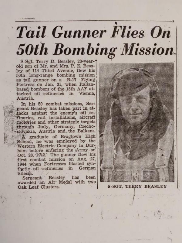 Terry D. Beasley WWII Durham, NC newspaper recognition.