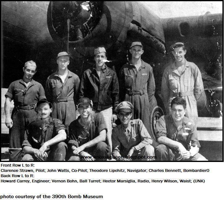 Clarence Strawn Crew 390th BG - 568th BS - 8th AF  Standing L to R:  Howard H. Carey (FE), Vernon Bohn (BTG), Hector Marsiglia (RO), Henry Wilson (WG), Unidentified Person  Kneeling L to R:  Clarence Strawn (P), John Watts (CP), Theodore Lipchitz (N), Charles Bennett (B)  This is an odd photo as it appears that someone has tried to paste a face on the body identified as Clarence Strawn.  The face doesn't really look like other known photos of Strawn.