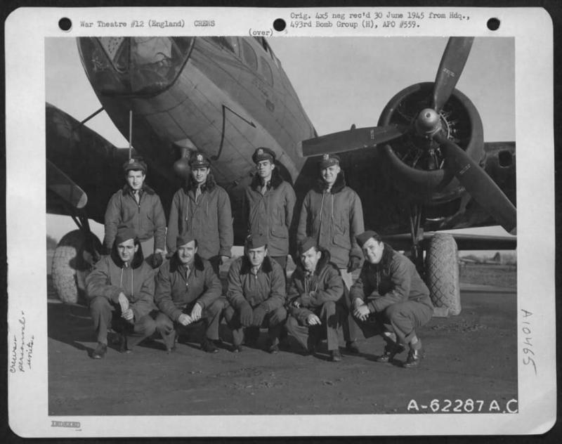 B-17F-50-VE 42-6151 Various 8th AIR FORCE units. Note original caption on frame.  Last assignment was 863rd Bomb Squadron, 493rd Bomb Group.   Associated with Lt Charles E Gibson  Aircraft was salvaged at Debach, 20 June 1945, as a result of fire.