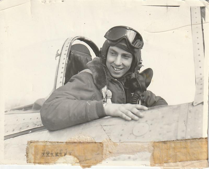Lt. Allen J. Diefendorf in the cockpit of his P-47. 367th Fighter Group, 392nd Fighter Squadron, Ninth Air Force.