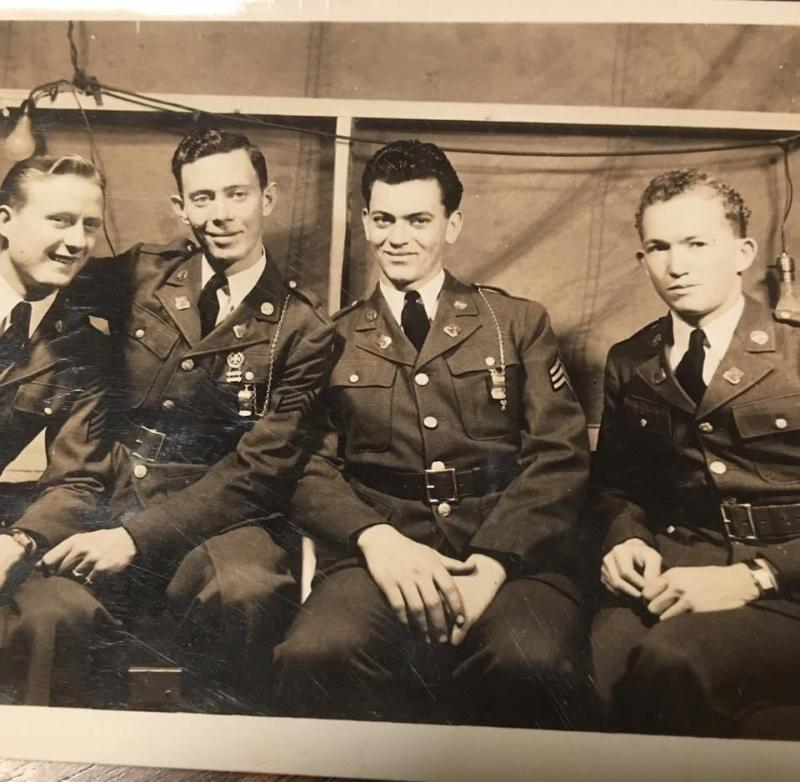 Far right, Walter Randall Green, pilot of a B-17, 452nd Bomb group(numbers faded)  No names written on back for other three men pictured. England 1944-45.
