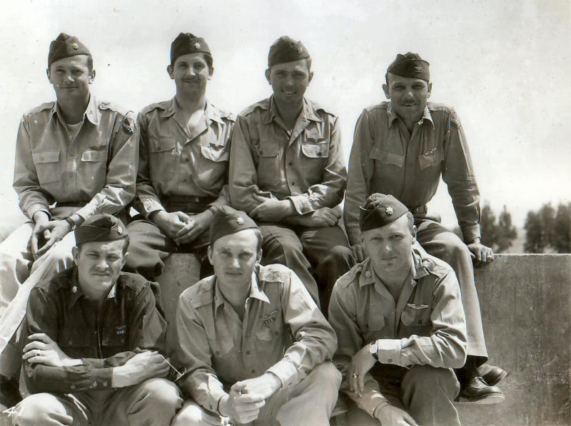 Command Staff of the 47th Bomb Group at Souk-el-Arba, Tunisia Top Row L to R: William J. Hanna (Group Ops Officer), Robert V. DeShazo (Group Exec Officer), Malcom Green (future Group C.O.), Frederick Terrell (Group Commander( Bottom Row L to R: Reginald Clizbe (85th BS C.O.), Richard Horner (86th BS C.O.), Marion Akers (97th BS C.O.)