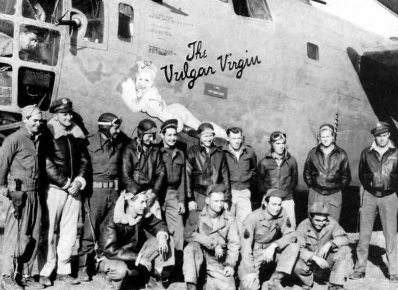 """B-24D  -  'THE VULGAR VIRGIN'  -  B-24-D-20-CO  -   #41-24198  - 98th Bomb Group - the 344th Bomb Squadron - and the 9th AF -  """"The Vulgar Virgin"""" with crew, North Africa 1943.  Pilot Lt. Wallace Taylor called for bailout over White IV while bombing Ploesti, after his plane was hit. He was the only survivor of the bailout and was captured - POW  -  Crew KIA  -  Aug 1, 1943"""