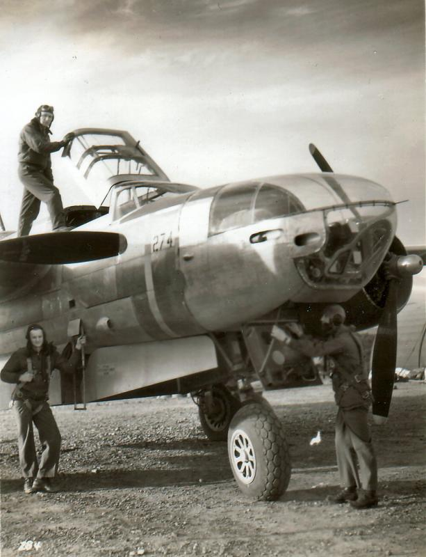 A-26C-20-DT #43-22547  Code: #52 47th BG - 86th BS - 12th AF Grosetto, Italy Entering cockpit: Lt. Colonel Marion Akers  Entering nose:  1LT Joseph Bitzko B/N Standing at ladder:  SSGT Earl Porter