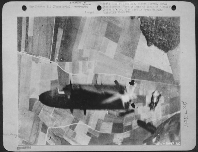 A-20G-30-DO #43-9707  Code:  5C-H 416BG - 671BS - 99th AF Received a direct flak hit while bombing a