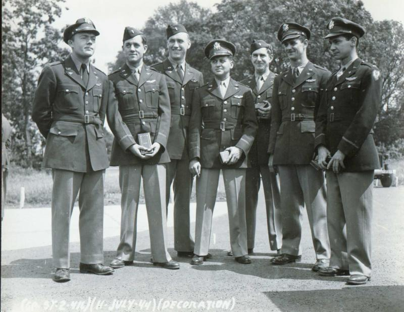 416th Bomb Group - Wethersfield - 11 July 1944 Left to Right: Captain David A. Hulse - Pilot - 669th BS Captain Earl E. DeMun - Pilot - 669th BS 1LT Wilfred C. Siggs - Pilot - 669th BS LTC William J. Meng - Pilot - 671st BS Captain Robert L. Behlmer - Pilot - 669th BS 1LT Alfred H. Maltby - Bomb/Nav - 668th BS