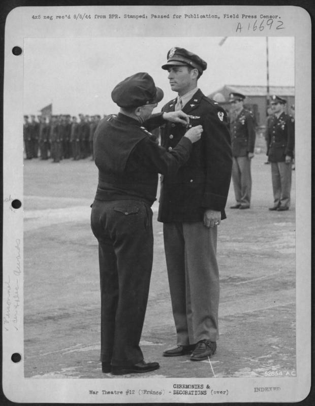 1LT Horace Furman Pair receiving an award from LTGEN Lewis Brereton Pair was a pilot in the 416th BG - 671st BS - 9th AF