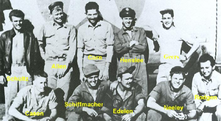 The B-24D, 'Raunchy's crew.   Pilot Lt. Sam Neeley front row, second from right, smiling.  'Raunchey' was lost over White IV at Ploesti after hitting a barrage balloon cable which snagged on the right wing and pulled an explosive charge down and blew off the wing.   Lt. Neeley and all but two of the crew were KIA in the crash.   August 1, 1943