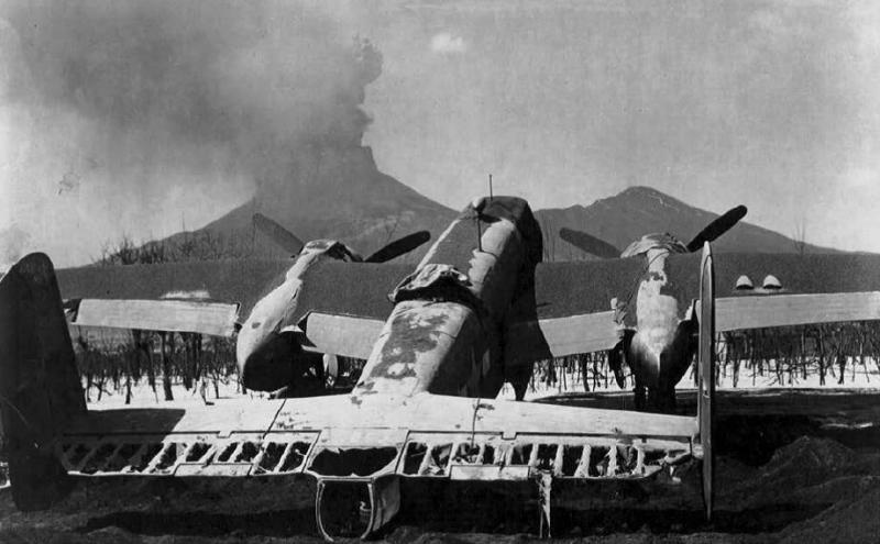 A B-25 of the 340th BG - 12th AF destroyed at Pompeii Airfield by the eruption of Mt. Vesuvius in early 1944