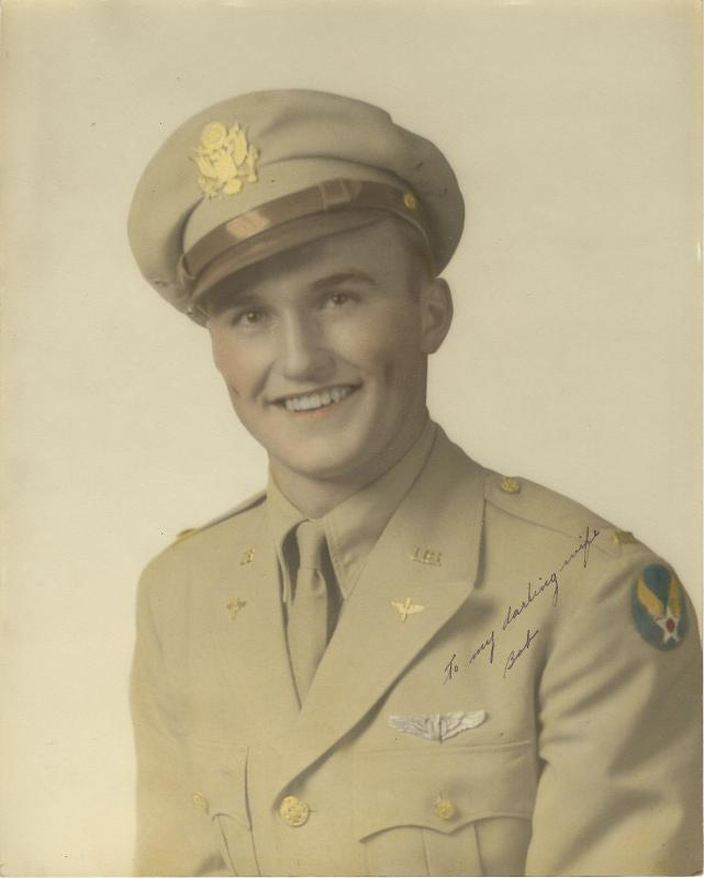 Enlisted in the Army Air Corps in Ironwood, MI on 27 Aug 1942 at the age of 19 before the start of his 2nd year at Michigan Tech University where he studied engineering on a football scholarship.  Called for duty as an aviation cadet to Midland, TX on 10 Feb 1943.  Received his wings with Class 43-12 of Bombardiers on 26 Aug 1943 and arrived in England on 1 Jan 1944. Bombardier on B-24J #42-100374 (