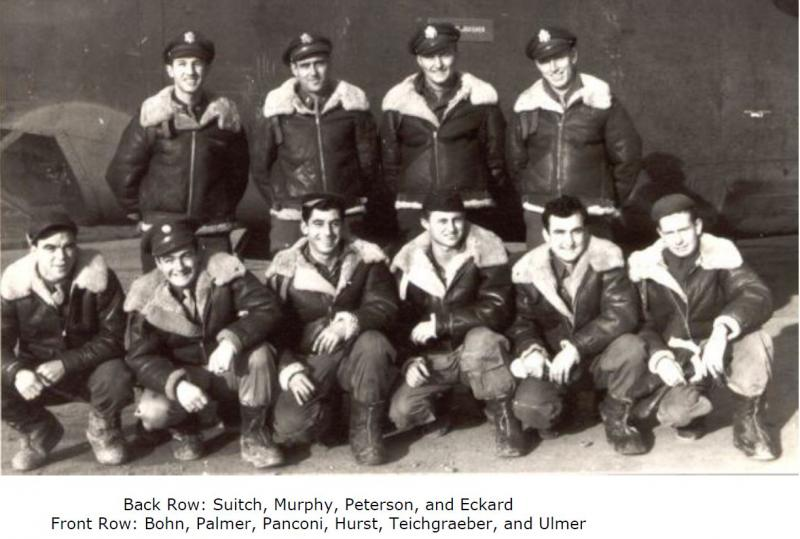 Crew of B-24 J liberator #42-100374 (Suitch's Bitch).  Once the crew was ready for combat, several members of the crew flew missions as replacement personnel with experienced crews.  This included the pilot, co-pilot, bombardier, navigator, engineer, and radio-operator. The Gotha mission of 24 Feb 1944 was their first combat mission as a crew, but there were last minute personnel changes. The co-pilot on this mission was a seasoned member of the 445th staff, Captain Eugene Waldher, instead of Lt. Murphy.  Waldher was a member of the original cadre that had formed the bomb group in April, 1943. He served as operations officer of the 700th BS during its subsequent combat training and was working in a staff position at the time of the Gotha raid. It was standard procedure to substitute seasoned veterans for key positions in an inexperienced crew on their first few missions.  Additionally, in an attempt to cut back on casualties, the group would be flying without ball turret gunners that day. S/Sgt. Vic Panconi would remain behind and the ball turret would be retracted within the fuselage for the entire raid.   The 445th Bombardment Group dispatched 25 bombers to attack the Gothaer Waggon Fabrik AG in Gotha on 24 Feb 1944. This was another installment in the