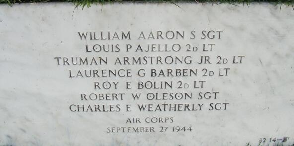 Grave marker for the communal grave of William Aaron Louis Ajello, Truman Armstrong, Laurence Barben, Roy Bolin, Robert Oleson and Charles Weatherly of the 455th Bomb Group at Jefferson Barracks National Cemetery, St. Louis, Missouri
