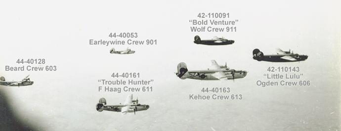 ID's of the six Liberators in the photo on the Belfort Mission