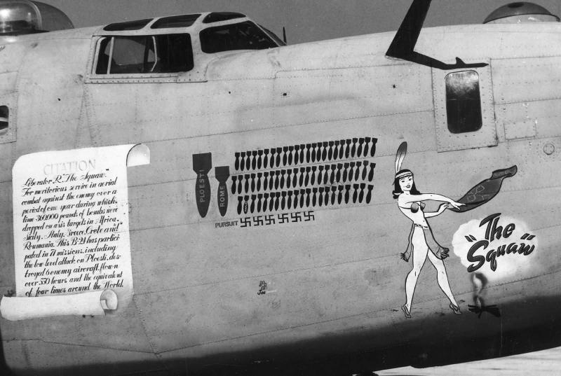 B-24D - 'The 'Squaw'    -   Nose Art    -   1943