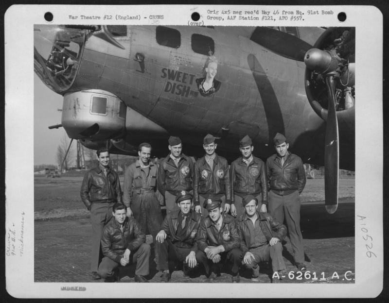 Sweet Dish (44-6596 LG-P) Roach Crew, 322nd BS, 91st BG BACK ROW - LEFT TO RIGHT: S/Sgt. A. Mantia, Radio Operator;  S/Sgt. Willis McQuain, Crew Chief;  S/Sgt. Whitmire, Engineer, S/Sgt. R. Schuster, Waist Gunner;  Sgt. Flitton, Tail Gunner;  2nd Lt. B. Lopez, Navigator. FRONT ROW - LEFT TO RIGHT: Sgt. J. Cannelas,  Lt. Bob Roach, Pilot;  F.O. J. B. Temple, Co-Pilot;  Unknown, Togglier.