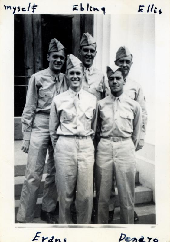 Roommates from Maxwell Field.  Class 43-K.  U.S. Army Air Forces.  Corps of Aviation Cadets.  Pre-flight School for Pilots. May 1943. James Evans Harry Ellis H. James Ebling Joseph C. Denaro