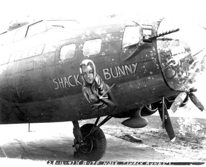 Boeing, Seattle B-17F-BO, SHACK BUNNY.  Possibly F-BO 42-30819 which would have been similarly configured and has been associated with the nickname Shack Bunny in the AAM synopsis for 42-30819.